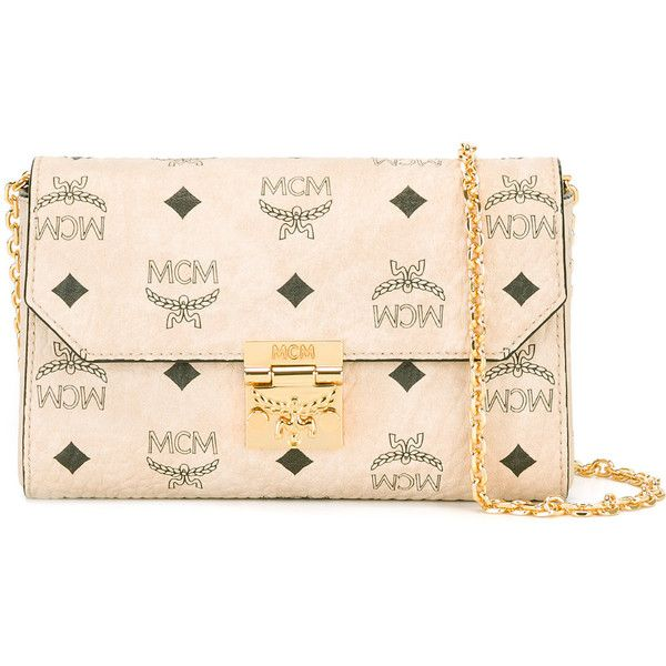 MCM logo print clutch ($490) ❤ liked on Polyvore featuring bags, handbags, clutches, nude, nude clutches, mcm purse, leather purses, leather clutches and beige purse