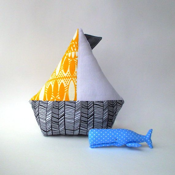 Sailboat toy nautical nursery boat pillow by CherryGardenDolls