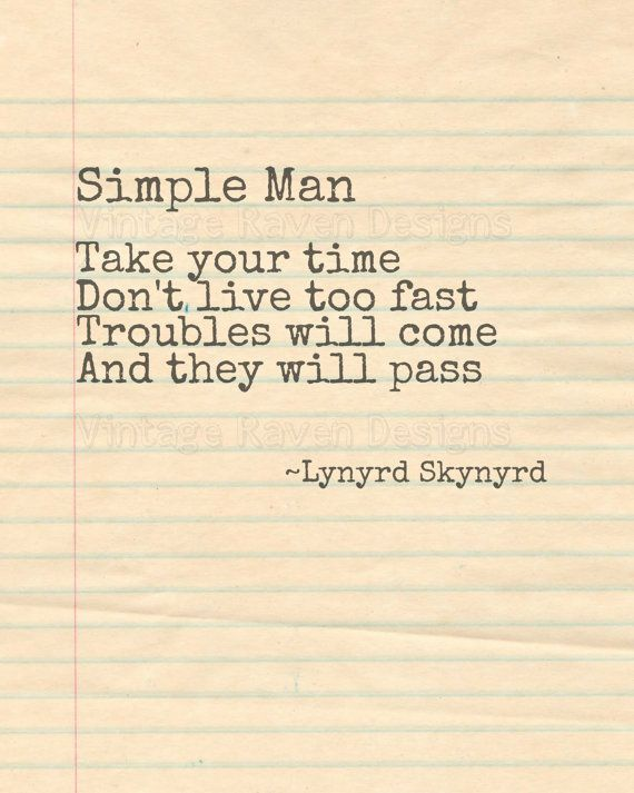 Simple Man Lynyrd Skynyrd Lyrics | Digital Download