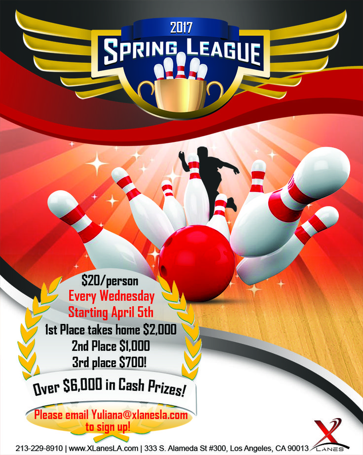 Our Spring Bowling League begins April 5th and we're looking for the best bowling talent in Los Angeles to compete! Sign up with 3 friends and compete for our 1st place, $2,000 cash prize! #XLanesLA  Please e-mail Yuliana@xlanesla.com to sign up.  www.xlanesla.com/ (213) 229-8910