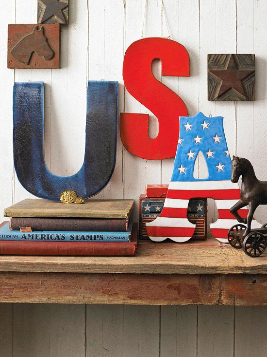 USA Letters Show your American pride with these colorful letters. Buy plain wooden letters (available at crafts stores) and get creative with red, white, and blue acrylic paint. Mix and match solid colors with stars and stripes. Tip: Looking to save these for years to come? Coat the letters with polyurethane for durability.