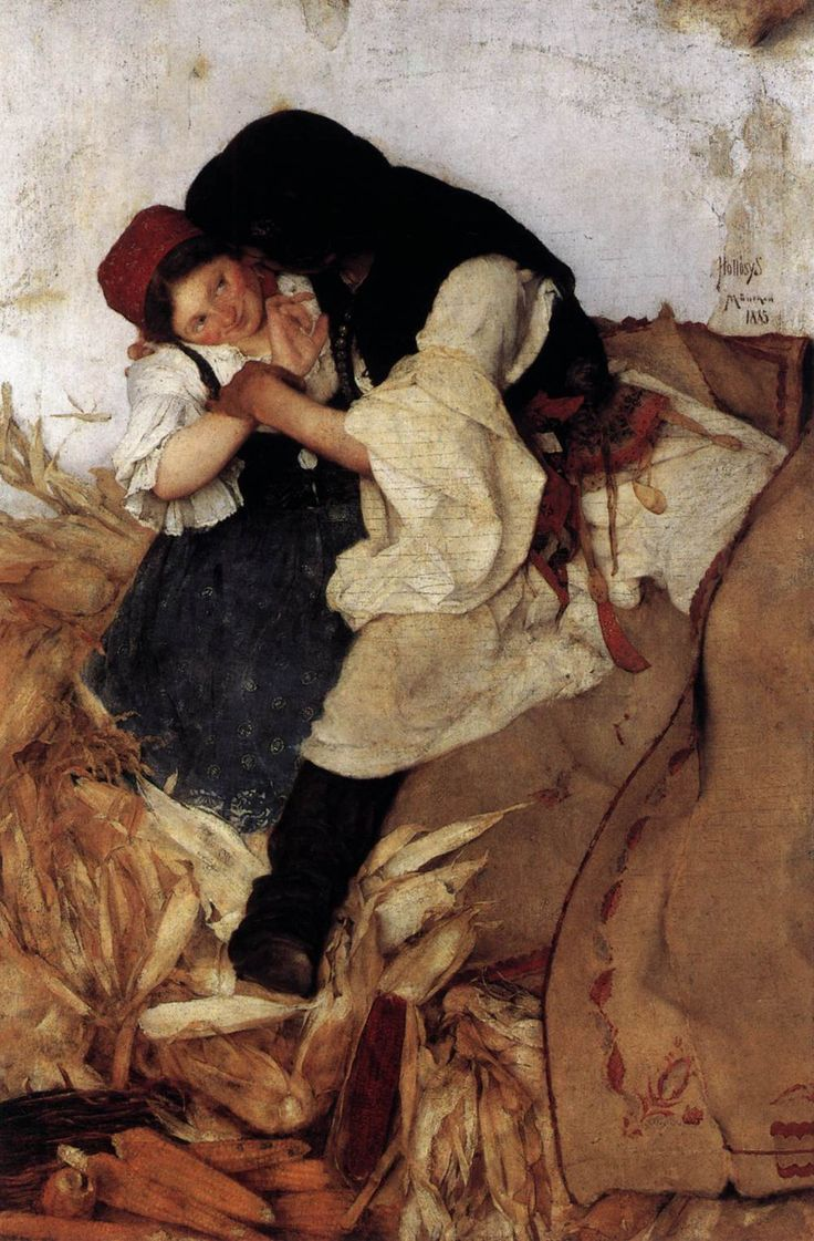 HOLLÓSY, Simon Hungarian painter (b. 1857, Máramarossziget, d. 1918, Técsõ) Corn Husking1885