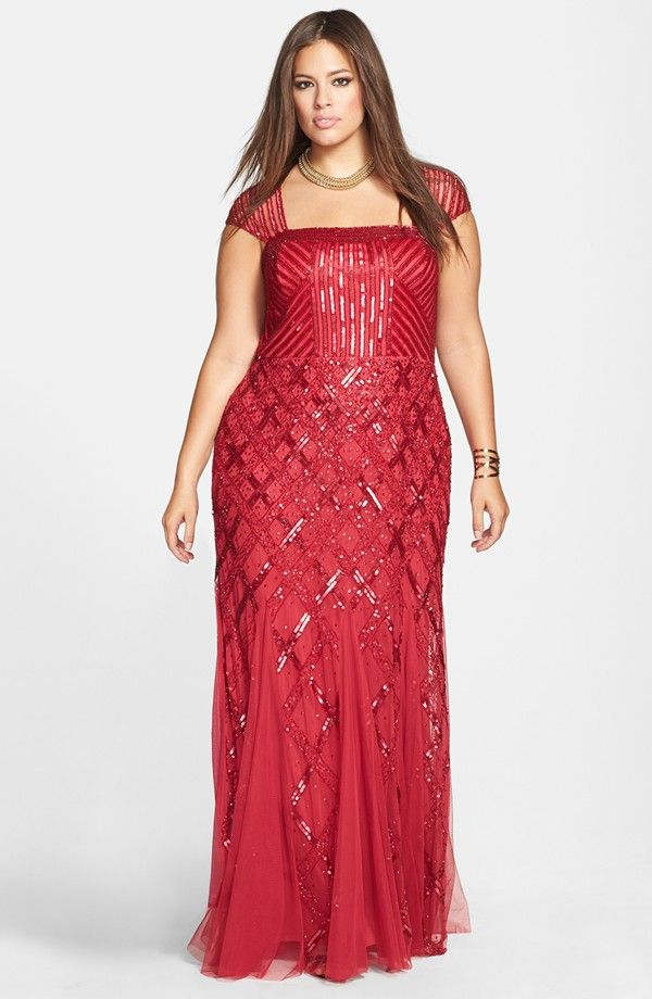 Plus-Size Red Sequin Evening Gown, Size 16-24W | ElegantPlus.com Fashion Spotlight, Oct 24, 2014