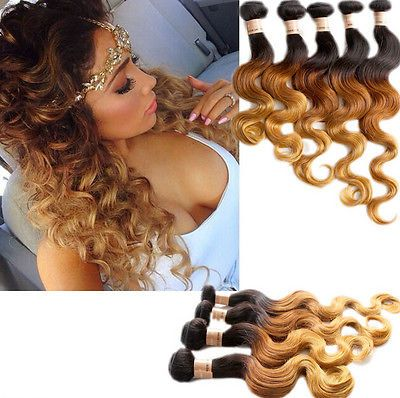 """Brazilian Real Human Hair Extensions Ombre Body Wave 12""""-30"""" 1b33#27# 50g/Bundle"""