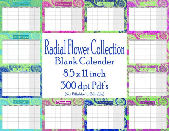 Radial Flower Collection Blank Calender set by PurposelyDesigned, $8.00