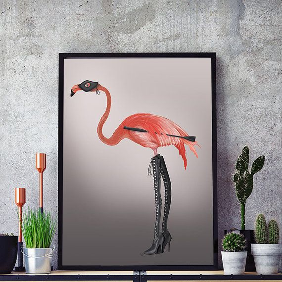 Kinky Boots  Pink Flamingo print flamingo wall art by LoopyLolly