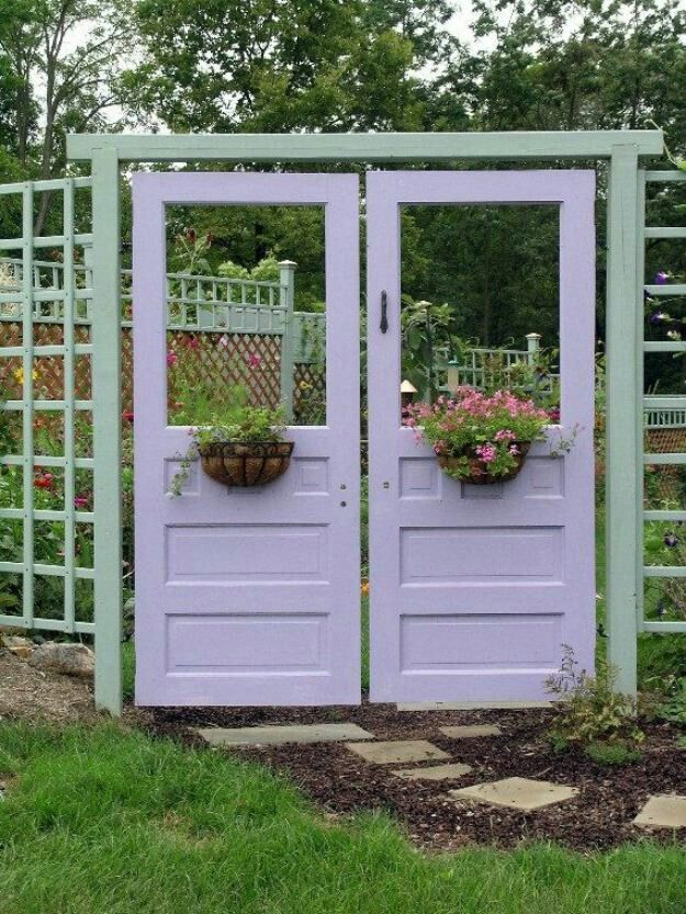Love this idea.to use old doors as Garden Doors! Historically PURPLE doors indicated that a Witch lived in that house. & 261 best recycling old doors and windows images on Pinterest | Old ... Pezcame.Com