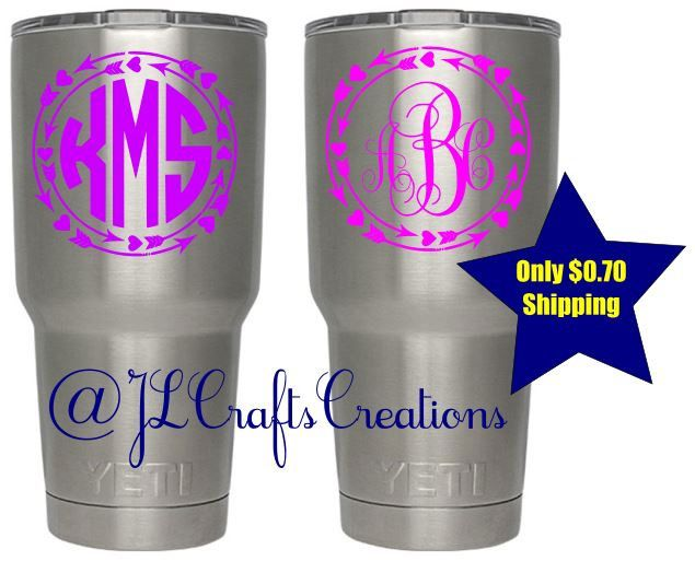 Yeti Decal for Women - Yeti Monogram Decal - Custom Vinyl Decal - Tumbler Sticker - Car Decal for her - Yeti Sticker - Personalized Sticker by JLCraftsCreations on Etsy