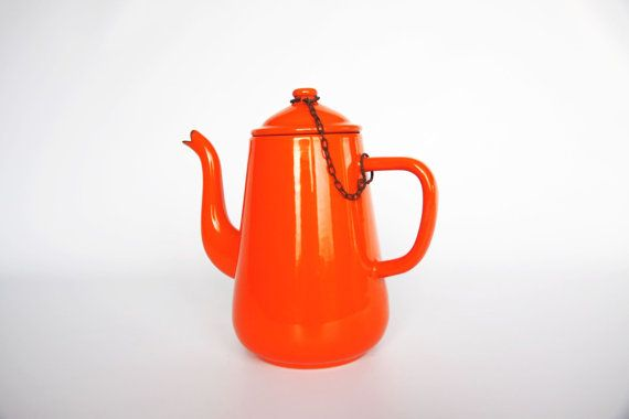 Vintage enamel orange coffee pot 1960 rustic shabby by hipposdream, €19.00