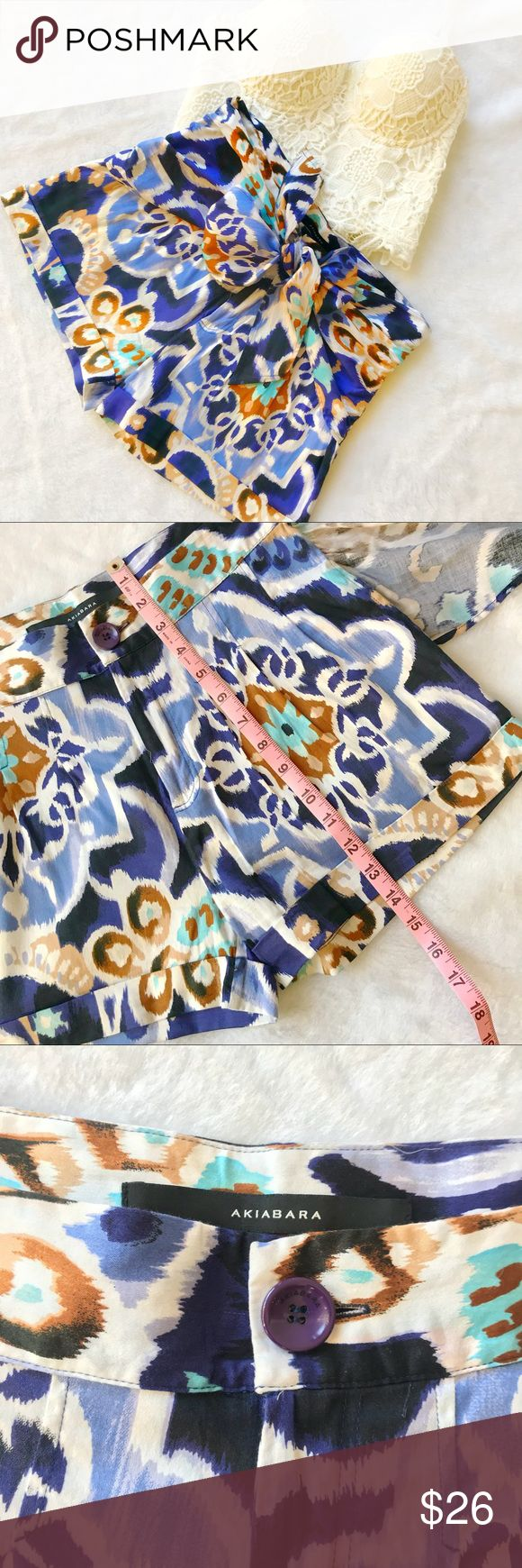 """Blue Print Shorts With Sash Abstract all around floral print. Functional pockets and sash that can be tied into a bow. Argentinian brand Akiabara. Size one, fits like small. Waist approx 15"""" flat. Gently used item in excellent condition. Akiabara Shorts Skorts"""