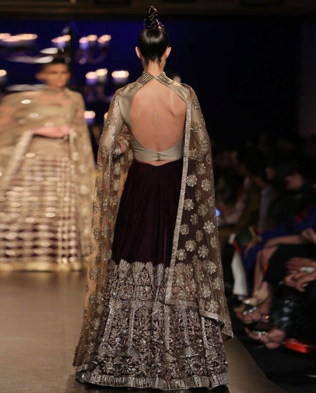 Wine Velvet Lengha with Jaal Embroidery - Indian Couture Week 2014 - Runway