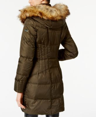 Vince Camuto Faux-Fur-Trim Hooded Puffer Coat - Green XXL