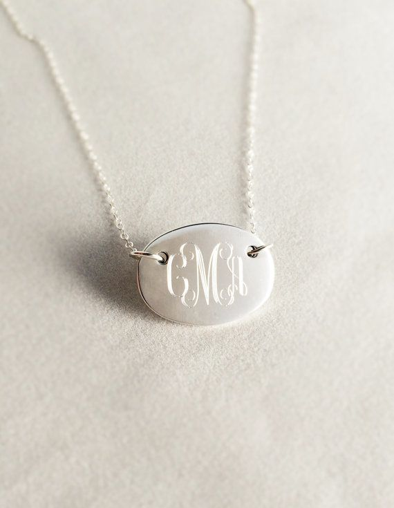 Oval Monogrammed Necklace in Sterling Silver for by netexchange