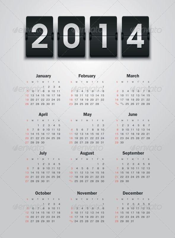 Calendar 2014 by nasik-nosik Vector calendar for 2014 eps without transparency