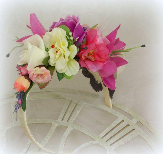 Paarse bloem kroon bruids hoofdband Lila Wedding Flower kroon