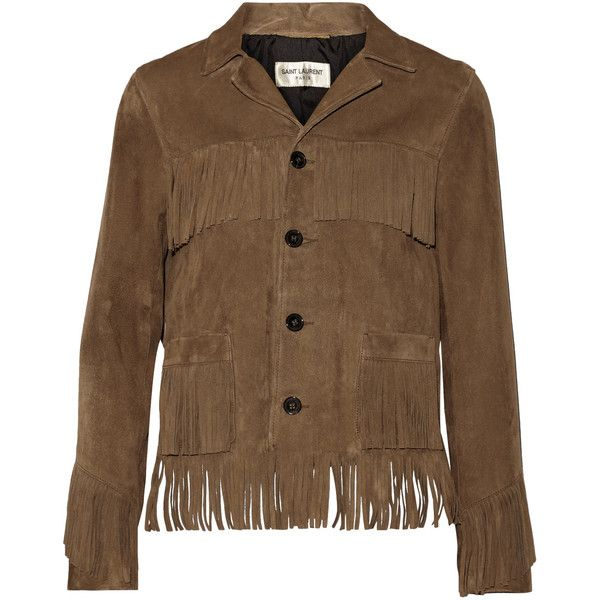 Saint Laurent Curtis fringed suede jacket (89.010 RUB) ❤ liked on Polyvore featuring outerwear, jackets, tan, yves saint laurent jacket, suede jacket, brown suede jackets, brown fringe jacket and fringe jacket