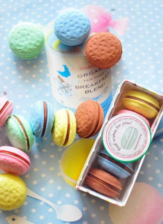 These macaron erasers. | 27 Food-Themed School Supplies That'll Make Your Classmates Drool. I WANT THIS