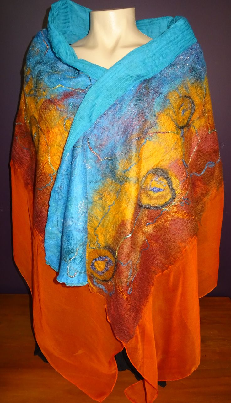 Outback inspirations large nuno felted shawl made with Australian Merino wool and embellished with silk fibres #wowcreationsqld