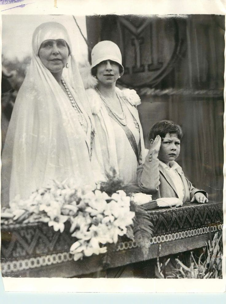 Queen Marie with her daughter-in-law, Helen, and her grandson, Mihai.