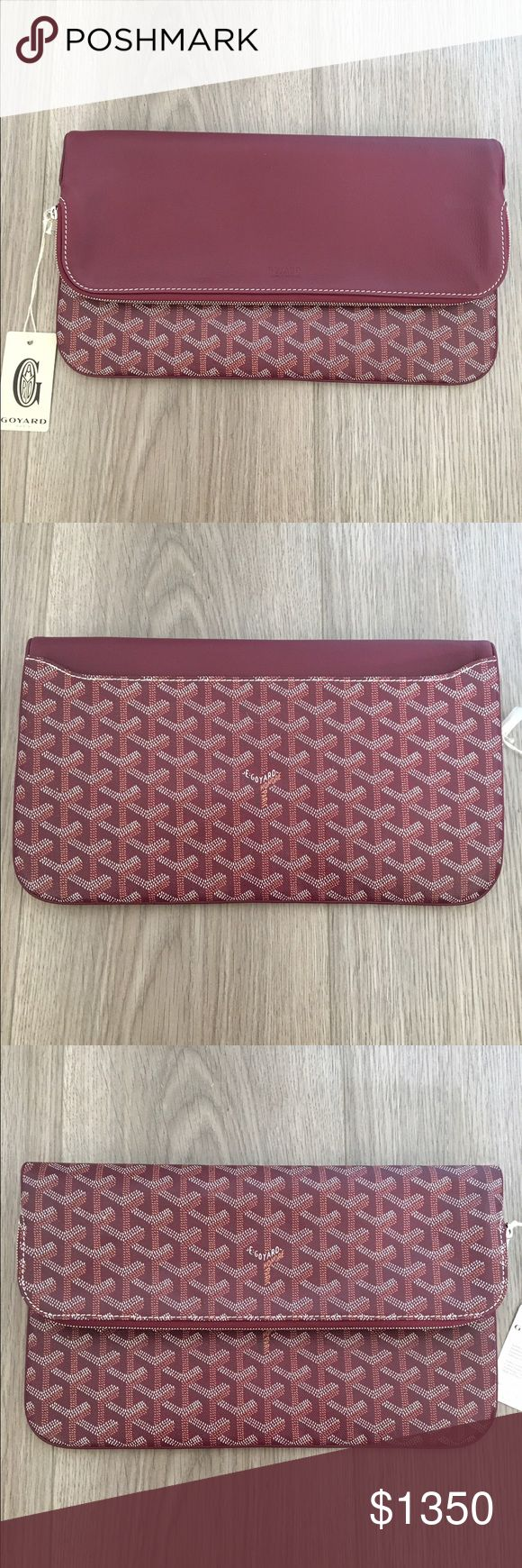 Goyard St. Marie Reversible Burgundy Clutch Goyard St. Marie burgundy clutch. New this season! Reversible flap that can be carried in two ways. Lots of space for all your necessities! Purchased at the Paris St. Honore location in October 2016. Never been used and comes with original tags, zipper cover, dust bag and box. Can provide more photos if needed. Thanks for your interest! :) Goyard Bags Clutches & Wristlets