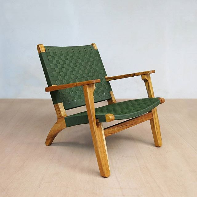 Green Nylon Arm Chair With Teak Wood Frame. All Of Our Beautiful Modern  Wood Furniture