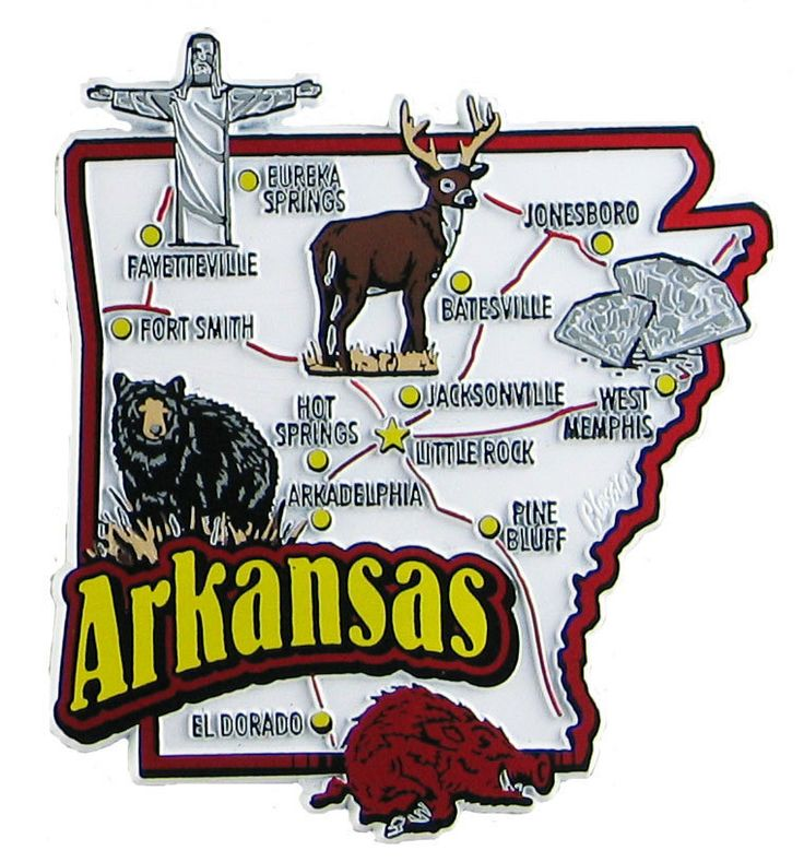 Arkansas Usa Souvenir Map State Magnet