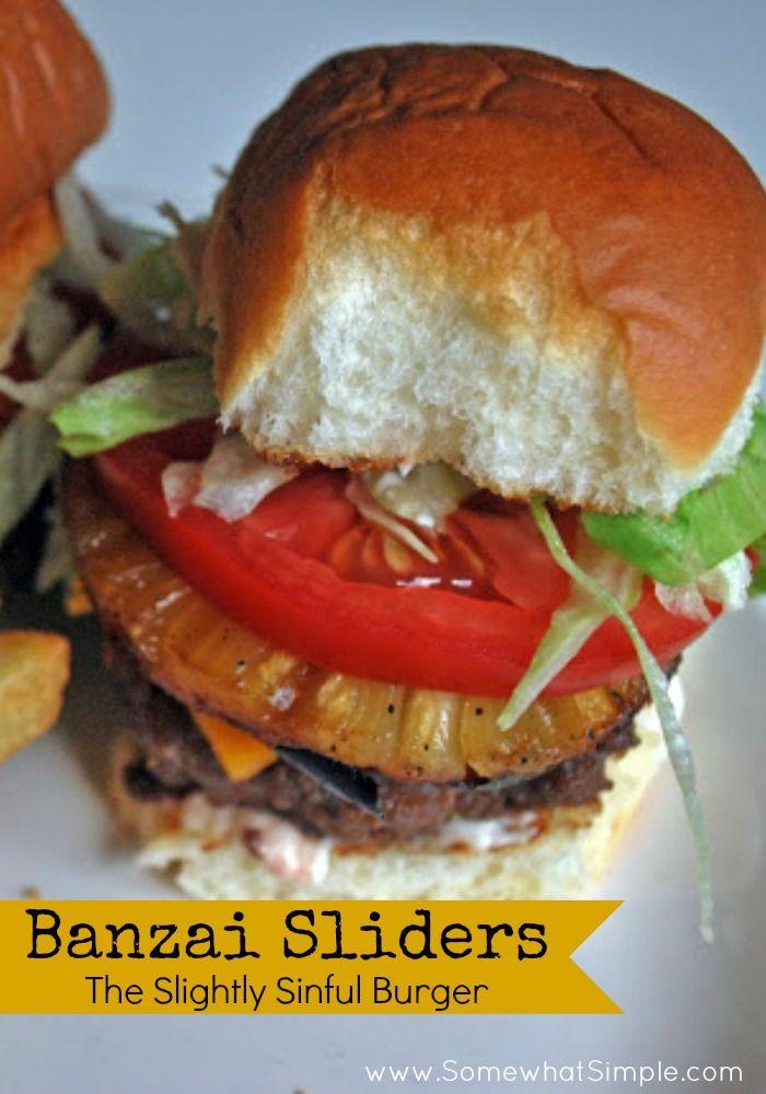 The Banzai Slider- There is something about the mixture between the teriyaki marinated hamburger patty, the marinated and grilled pineapple, and then the Hawaiian roll... from www.SomewhatSimple.com #slider #hamburger