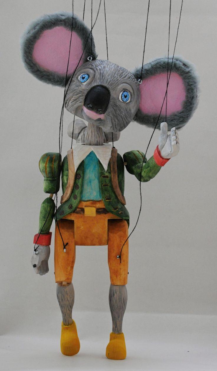Koalal strings puppet-  high 45 cm,linden wood, by Robert Patolan 2017 www.loutkylidem.cz