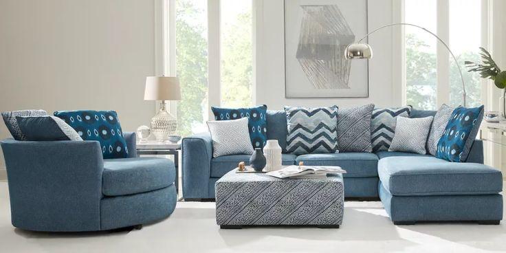 Bellehurst Blue 5 Pc Sectional Living Room Living Room Sectional Living Room Sets Furniture Sectional Living Room Sets