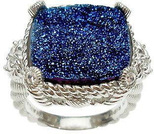 Judith Ripka Sterling Diamonique & Choice of Drusy Stone Ring