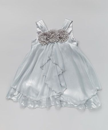 Look what I found on #zulily! Silver Rosette Babydoll Dress - Toddler & Girls by Kid's Dream #zulilyfinds