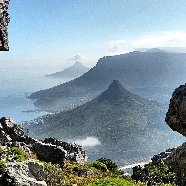 Window onto Kleinleeukoppie, Judas Peak, Lion's Head and Table Mountain - Cape Town.