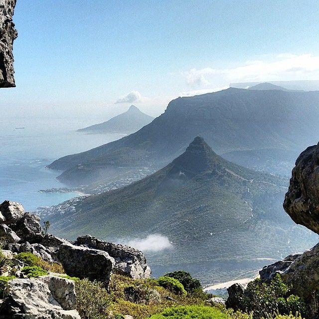 Window onto Kleinleeukoppie, Judas Peak, Lion's Head and Table Mountain - Cape Town.