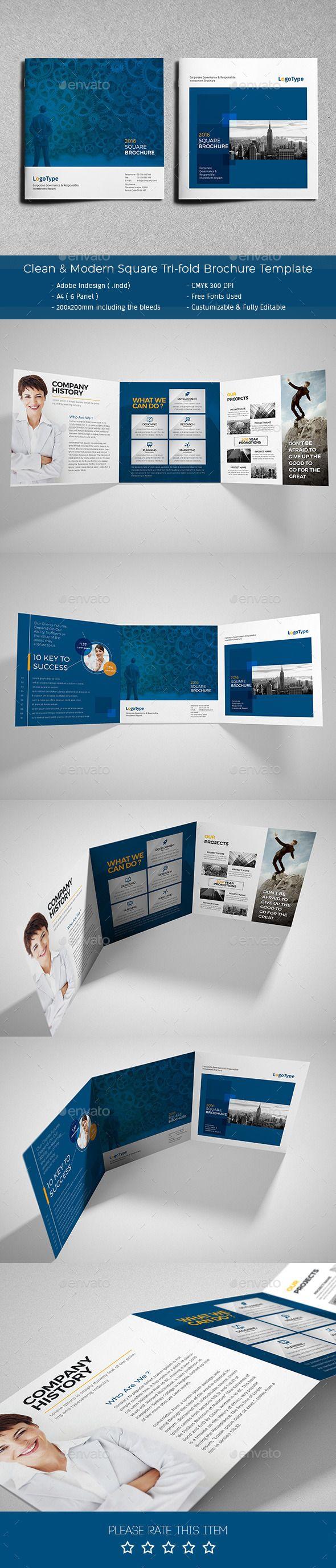Clean & Modern Square Tri-fold Brochure Template #design #broschüre Download: http://graphicriver.net/item/clean-modern-square-trifold-brochure/12340282?ref=ksioks