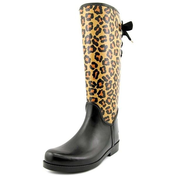 Coach Coach Tristee Round Toe Synthetic Rain Boot ($40) ❤ liked on Polyvore featuring shoes, boots, black, knee-high boots, knee boots, knee high rain boots, wellington boots, black knee boots and round toe boots