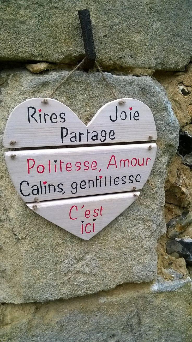 pancarte en bois message coeur : Décorations murales par ptitecrea                                                                                                                                                     Plus