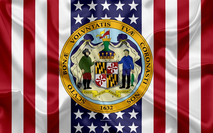 Download wallpapers Maryland, USA, 4k, American state, Seal of Maryland, silk texture, US states, emblem, states seal, American flag