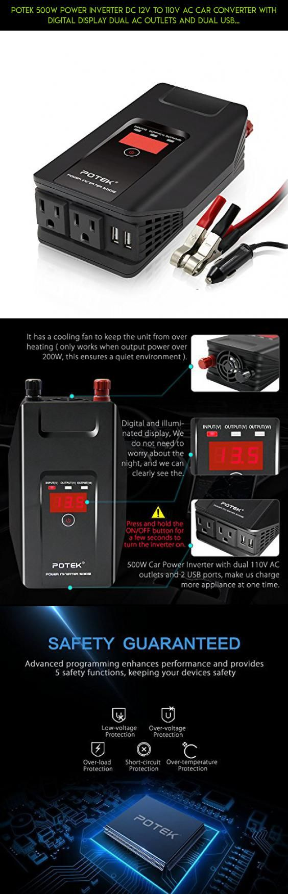 POTEK 500W Power Inverter DC 12V to 110V AC Car Converter with Digital Display Dual AC Outlets and Dual USB Charging Ports for Tablets, Laptops and Smartphones #gadgets #unit #technology #cooling #kit #fpv #drone #and #camera #parts #plans #products #tech #heating #shopping #racing
