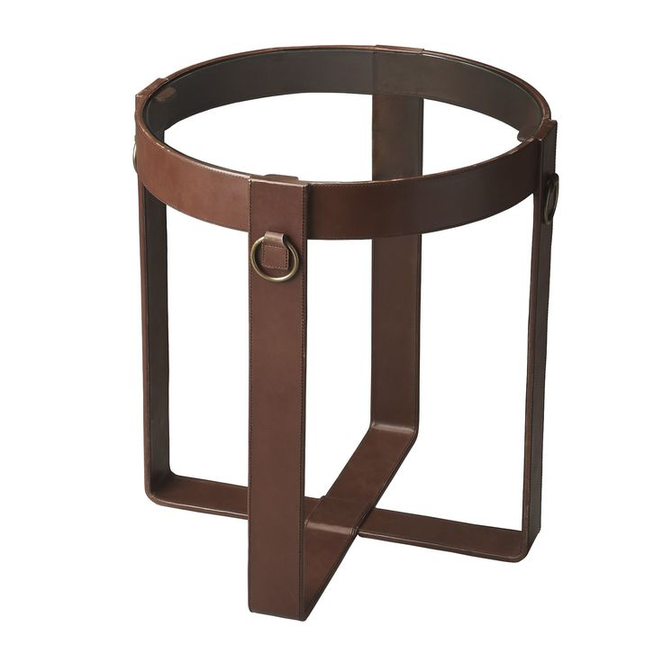 Butler Specialty Handmade Leather and Steel End Table (India) (Leather and Steel Side Table), Brown