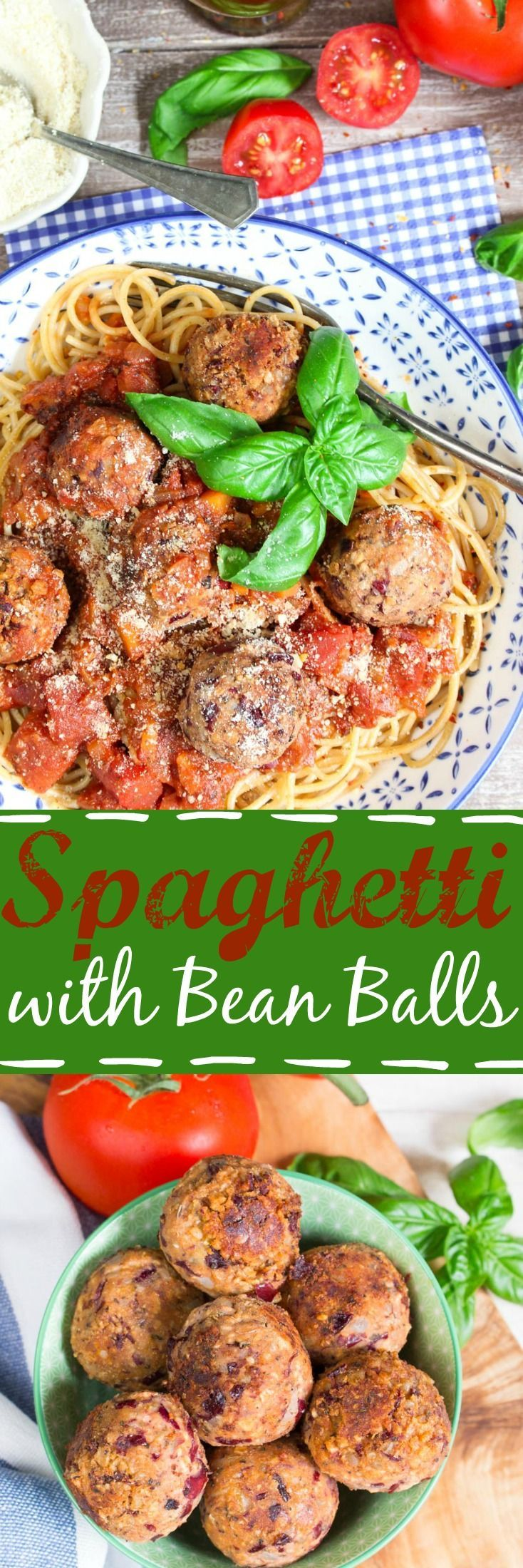 These vegan spaghetti with bean balls are perfect for quick weeknight dinners. They're super delicious and so easy to make! #vegan #beans #pasta #beanballs #veganmeatballs #vegetarian #veganpasta #healthy