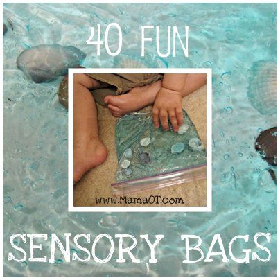 40 fun sensory bags! Ideas ranging from tummy time for babies to pre-writing practice for older kids...plus GIANT ones for summer sensory play!