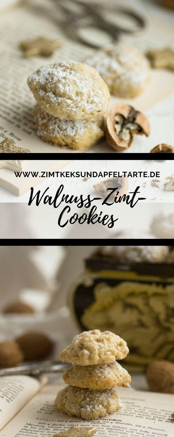 Unglaublich lecker und super einfach: meine köstlichen Walnuss-Zimt-Cookies... Tolle Kekse für Weihnachten, den Adventskaffee oder einfach so. Auch als Geschenk aus der Küche sehr willkommen