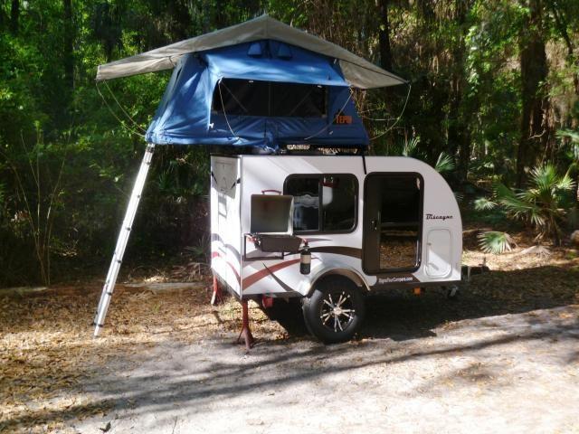 woah! extra tent on top of a teardrop camper!  2012 SignaTour Teardrop Camper Trailer