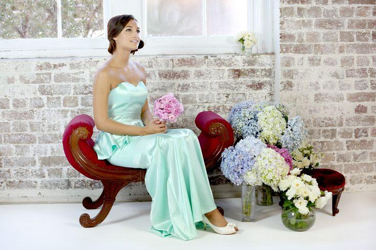 Giselle peplum bridesmaid dress in mint green www.stylaandco.com.au/giselle/