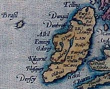 Mythical Brasil beside Ireland. Ortelius Map of 1572