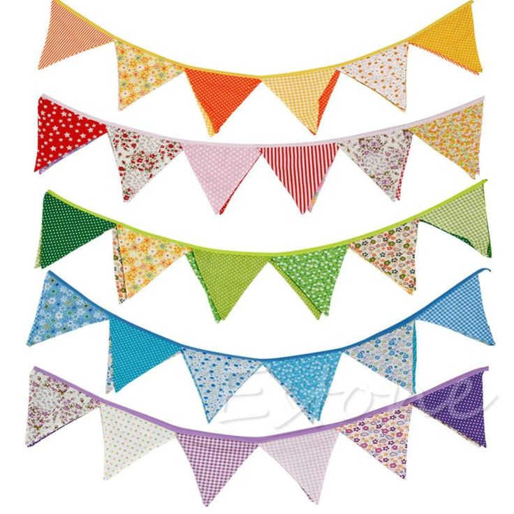 [Visit to Buy] New Colorful Fabric Flags Banners Wedding Decor Bunting Party Garland Decoration #Advertisement