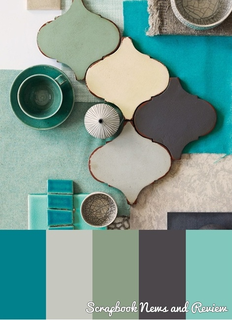 Cool and Peaceful color palette for scrapbook layouts, cards and mixed media projects.