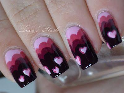 scalloped edge + heart valentines nails
