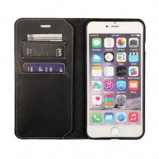 iPhone 6 6s plus 5.5 - First Grade Genuine Leather Flip Wallet Protecive Phone Cover Case - Black