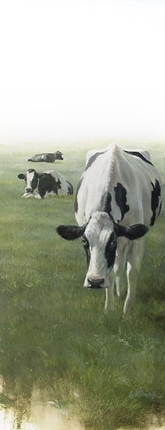 Sold | Cows in Pasture, oil/canvas 20 x 8 inch  (50 x 20 cm) © 2011 Klimas